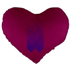 Purple Blue Large 19  Premium Flano Heart Shape Cushions by Alisyart