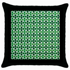 Green White Wave Throw Pillow Case (black) by Alisyart