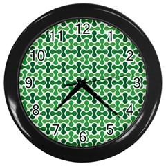 Green White Wave Wall Clocks (black) by Alisyart