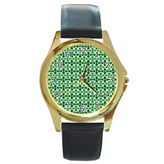 Green White Wave Round Gold Metal Watch by Alisyart