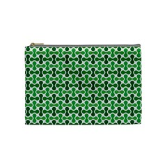 Green White Wave Cosmetic Bag (medium)  by Alisyart