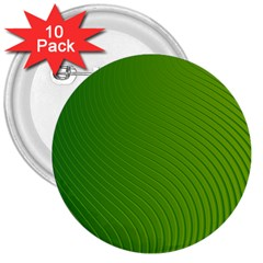 Green Wave Waves Line 3  Buttons (10 Pack)  by Alisyart
