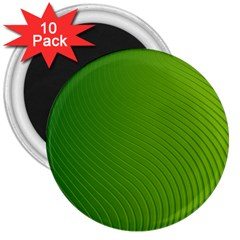 Green Wave Waves Line 3  Magnets (10 Pack)  by Alisyart