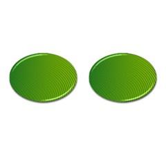 Green Wave Waves Line Cufflinks (oval) by Alisyart
