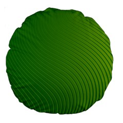 Green Wave Waves Line Large 18  Premium Round Cushions by Alisyart