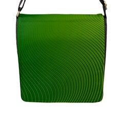 Green Wave Waves Line Flap Messenger Bag (l)  by Alisyart