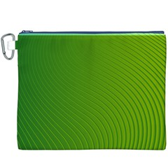 Green Wave Waves Line Canvas Cosmetic Bag (XXXL)