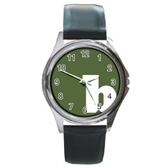 Square Alphabet Green White Sign Round Metal Watch by Alisyart