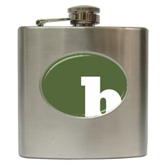 Square Alphabet Green White Sign Hip Flask (6 Oz) by Alisyart