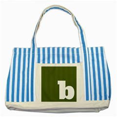 Square Alphabet Green White Sign Striped Blue Tote Bag by Alisyart