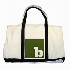 Square Alphabet Green White Sign Two Tone Tote Bag by Alisyart