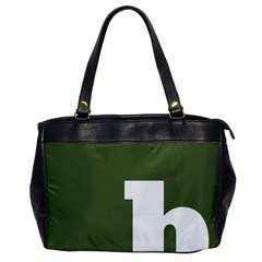 Square Alphabet Green White Sign Office Handbags by Alisyart
