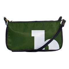 Square Alphabet Green White Sign Shoulder Clutch Bags by Alisyart