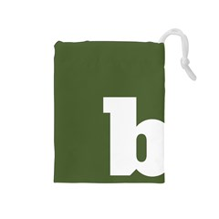 Square Alphabet Green White Sign Drawstring Pouches (medium)  by Alisyart