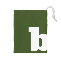 Square Alphabet Green White Sign Drawstring Pouches (large)  by Alisyart