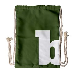 Square Alphabet Green White Sign Drawstring Bag (large) by Alisyart