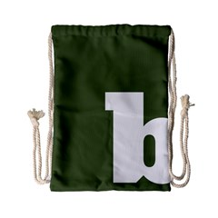 Square Alphabet Green White Sign Drawstring Bag (small) by Alisyart