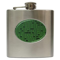 Pipes Green Light Circle Hip Flask (6 Oz) by Alisyart