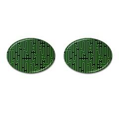 Pipes Green Light Circle Cufflinks (oval) by Alisyart