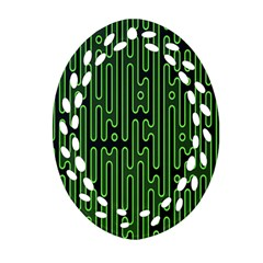Pipes Green Light Circle Oval Filigree Ornament (two Sides) by Alisyart