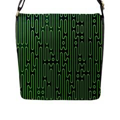 Pipes Green Light Circle Flap Messenger Bag (l)  by Alisyart