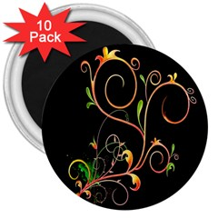 Flowers Neon Color 3  Magnets (10 Pack)  by Simbadda