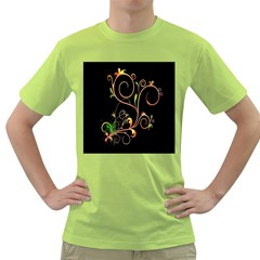 Flowers Neon Color Green T Shirt by Simbadda