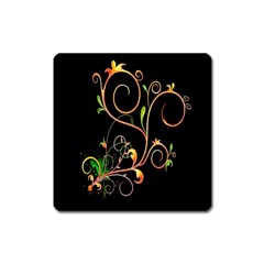 Flowers Neon Color Square Magnet by Simbadda