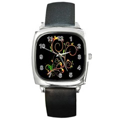 Flowers Neon Color Square Metal Watch by Simbadda