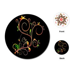 Flowers Neon Color Playing Cards (round)  by Simbadda