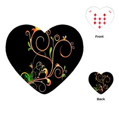 Flowers Neon Color Playing Cards (heart)  by Simbadda