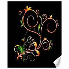 Flowers Neon Color Canvas 11  X 14   by Simbadda
