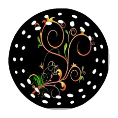 Flowers Neon Color Round Filigree Ornament (two Sides) by Simbadda