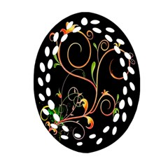 Flowers Neon Color Oval Filigree Ornament (two Sides) by Simbadda