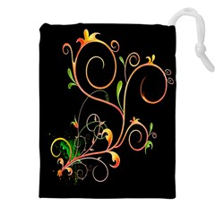 Flowers Neon Color Drawstring Pouches (xxl) by Simbadda