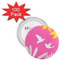 Spring Flower Floral Sunflower Bird Animals White Yellow Pink Blue 1 75  Buttons (100 Pack)  by Alisyart