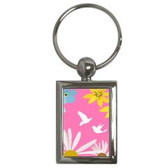 Spring Flower Floral Sunflower Bird Animals White Yellow Pink Blue Key Chains (rectangle)  by Alisyart