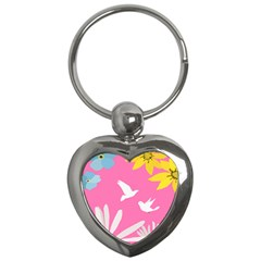 Spring Flower Floral Sunflower Bird Animals White Yellow Pink Blue Key Chains (heart)  by Alisyart