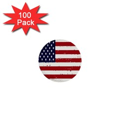 Flag United States United States Of America Stripes Red White 1  Mini Buttons (100 Pack)  by Simbadda