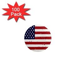 Flag United States United States Of America Stripes Red White 1  Mini Magnets (100 Pack)  by Simbadda