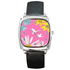 Spring Flower Floral Sunflower Bird Animals White Yellow Pink Blue Square Metal Watch by Alisyart