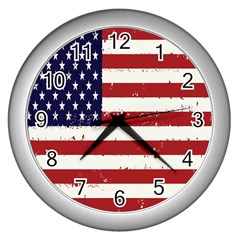 Flag United States United States Of America Stripes Red White Wall Clocks (silver)  by Simbadda
