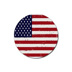 Flag United States United States Of America Stripes Red White Rubber Round Coaster (4 Pack)  by Simbadda