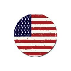 Flag United States United States Of America Stripes Red White Magnet 3  (round) by Simbadda