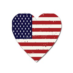 Flag United States United States Of America Stripes Red White Heart Magnet by Simbadda