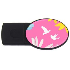 Spring Flower Floral Sunflower Bird Animals White Yellow Pink Blue Usb Flash Drive Oval (4 Gb) by Alisyart