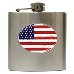 Flag United States United States Of America Stripes Red White Hip Flask (6 Oz) by Simbadda