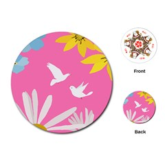 Spring Flower Floral Sunflower Bird Animals White Yellow Pink Blue Playing Cards (round)  by Alisyart