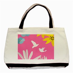 Spring Flower Floral Sunflower Bird Animals White Yellow Pink Blue Basic Tote Bag by Alisyart