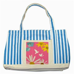 Spring Flower Floral Sunflower Bird Animals White Yellow Pink Blue Striped Blue Tote Bag by Alisyart
